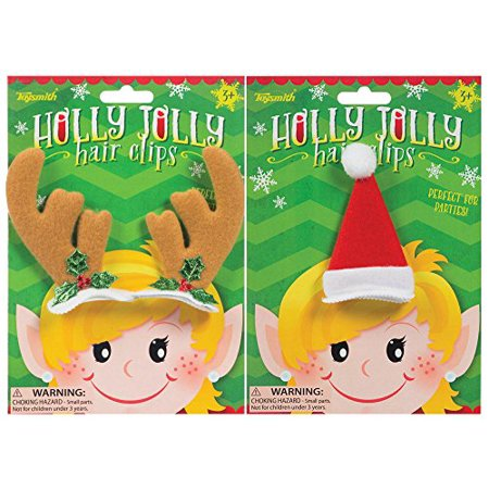 Santa Hat With Antlers (Toysmith Holly Jolly Reindeer Antlers and Santa Hat Hair Clips Costume)