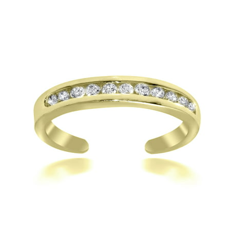 Cubic Zirconia Channel-Set Dainty Toe Ring Gold Flash Sterling -