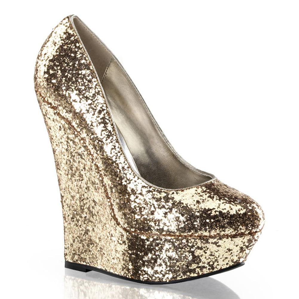 6 Inch Glitter Wedge Platform Pumps Sexy High Heel Women's Shoes Glamour