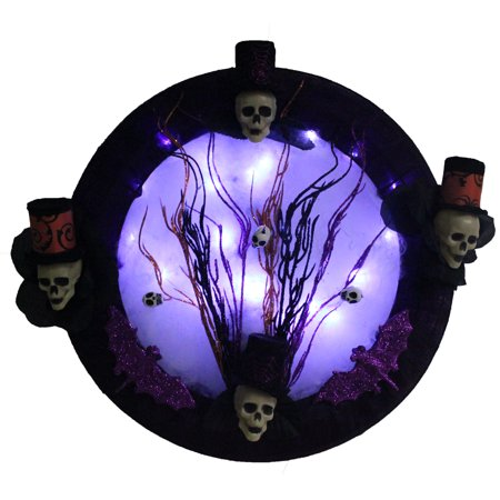 Halloween Mesh Decorations (Gothic Decor Halloween Lighted Wreath with Voodoo Skull Top Hats, Creepy Decorations, Purple Bats, Custom Made with Black Mesh. LED Lights Up The Spider Web to Illuminate a Spooky Full)
