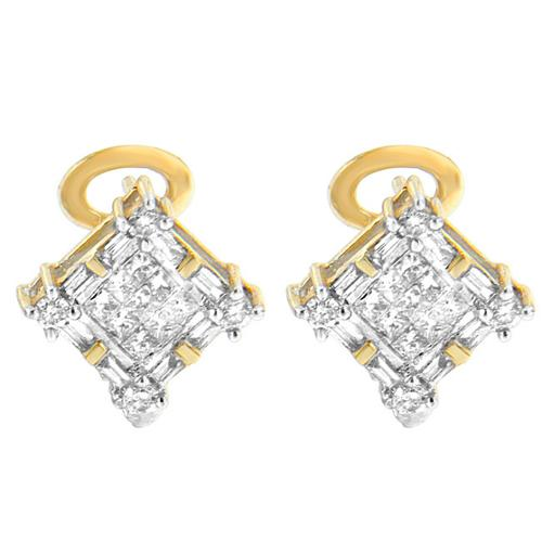 Vijay Gold 14k Yellow Gold 1ct TDW Round, Baguette and Princess-cut Diamond Earrings (H-I, SI1-SI2)