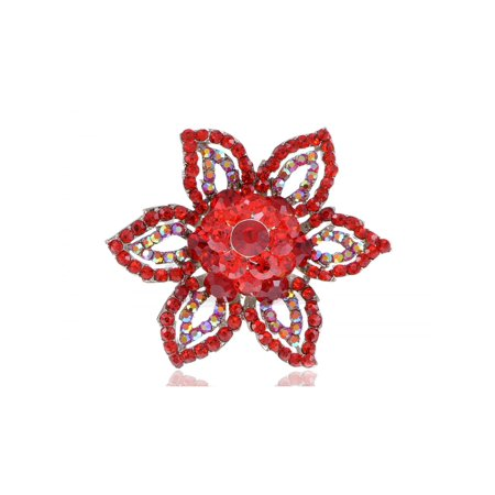 Rouge Red Ruby Crystal Rhinestone Petal Costume Ballroom Fashion Finger Ring (Ballroom Costumes)