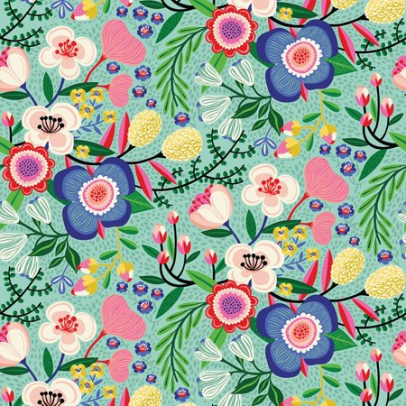 Clothworks Halloween Fabric (Make Today Awesome/Turquoise Floral Cotton Fabric by)