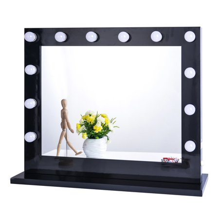 Chende Black Hollywood Lighted Makeup Vanity Mirror Light Dressing Table Set Mirrors With