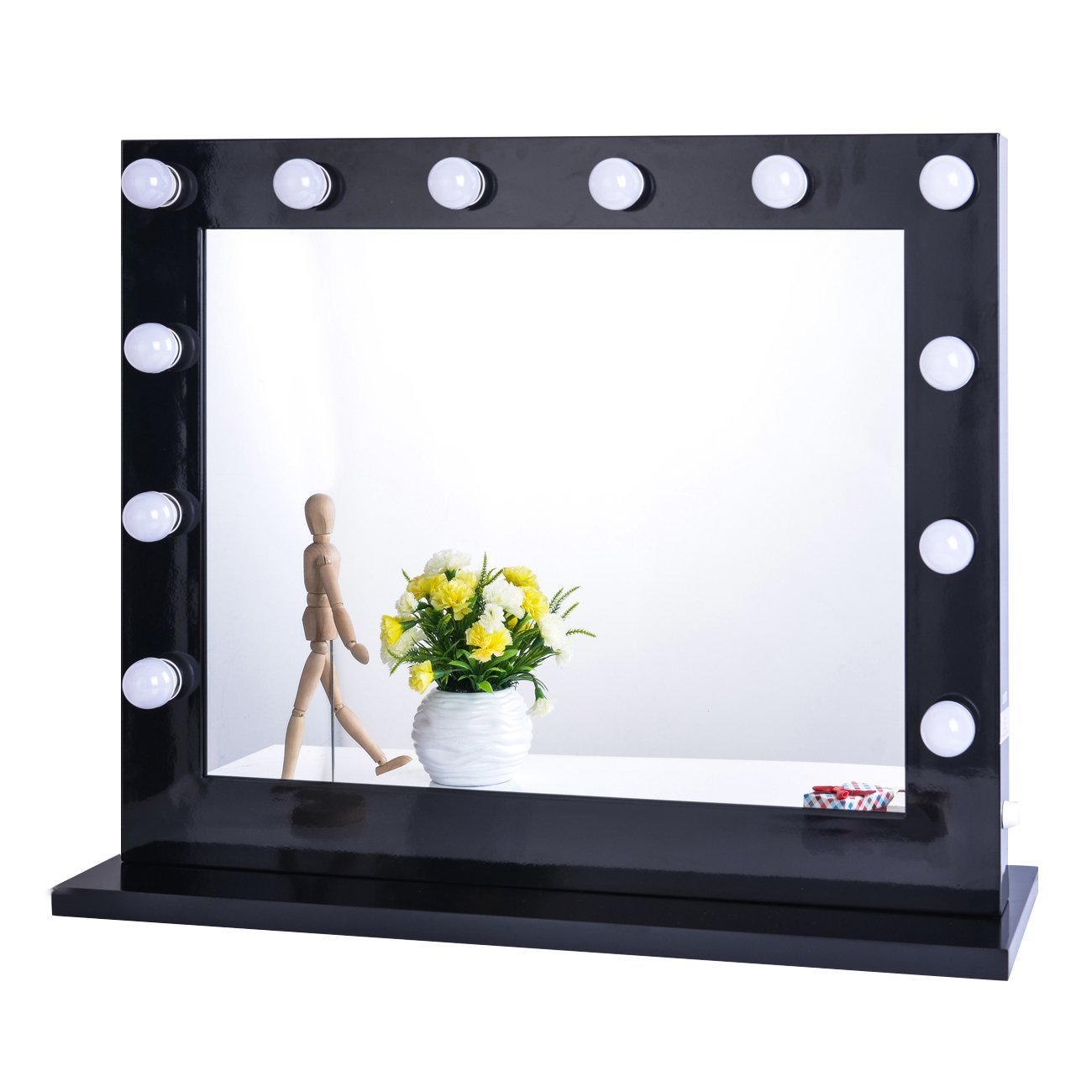 Chende Black Hollywood Lighted Makeup Vanity Mirror Light, Makeup Dressing  Table Vanity Set Mirrors With