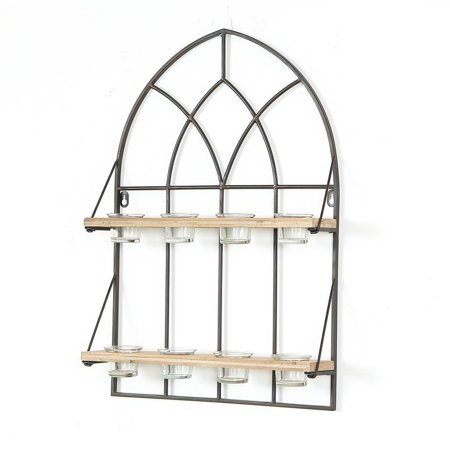 - Cathedral Iron Window with 8 Tealight Holders Wall Panel