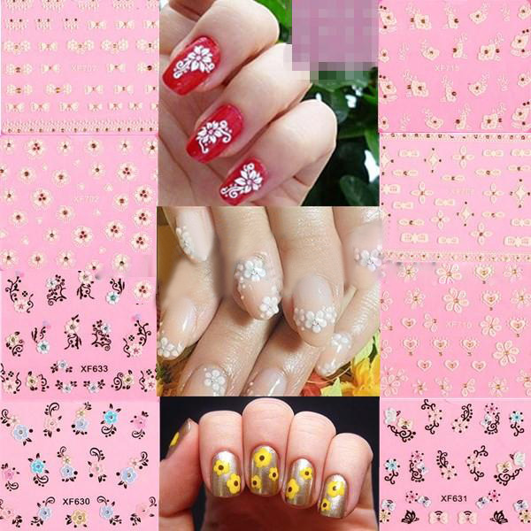 DANCINGNAIL 10 Sheet 3D Nail Art Tips Lace Flower Wrap Decal Stickers Decoration Manicure
