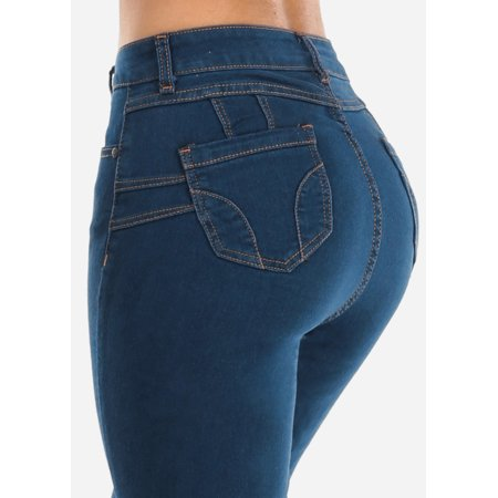 Womens High Waisted Straight Leg Dark Wash Blue Jeans 10326C Blue 2 Straight Leg Jeans