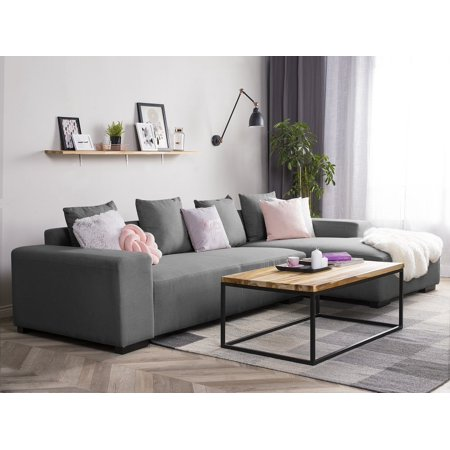 Modern Sectional Sofa Dark Gray Fabric Left Hand Chaise Lungo