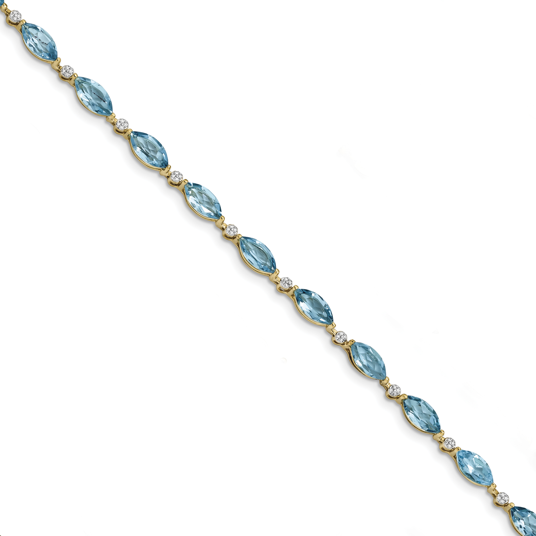 14k Yellow Gold Polished 0.01ct Diamond & 8.4ct Blue Topaz 7.25in Bracelet by