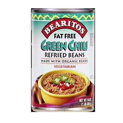 Bearitos Organic Refried Beans Green Chili 16 OZ (Pack of 12)