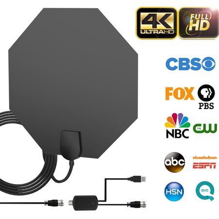 80-100 Miles Long Range Indoor Amplified TV Antenna - 2019 Upgraded Digital HDTV Antenna with Detachable Amplifier Channels Signal Booster Free TV for 4K 1080P VHF UHF High Reception with 18ft