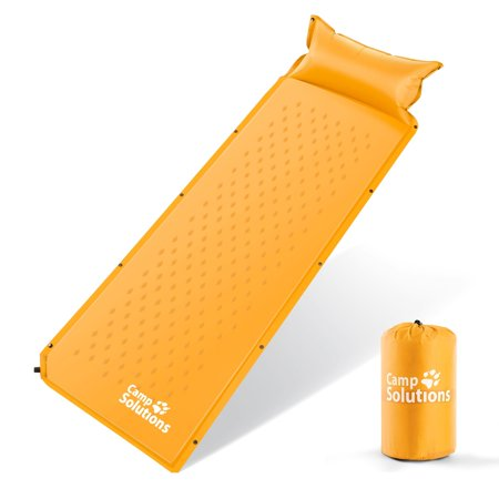 Camp Solutions Lightweight Sleeping Pad - Self Inflating Camping Pad with Built in Pillow for Camping, Hiking and Backpacking (Best Lightweight Backpacking Pillow)