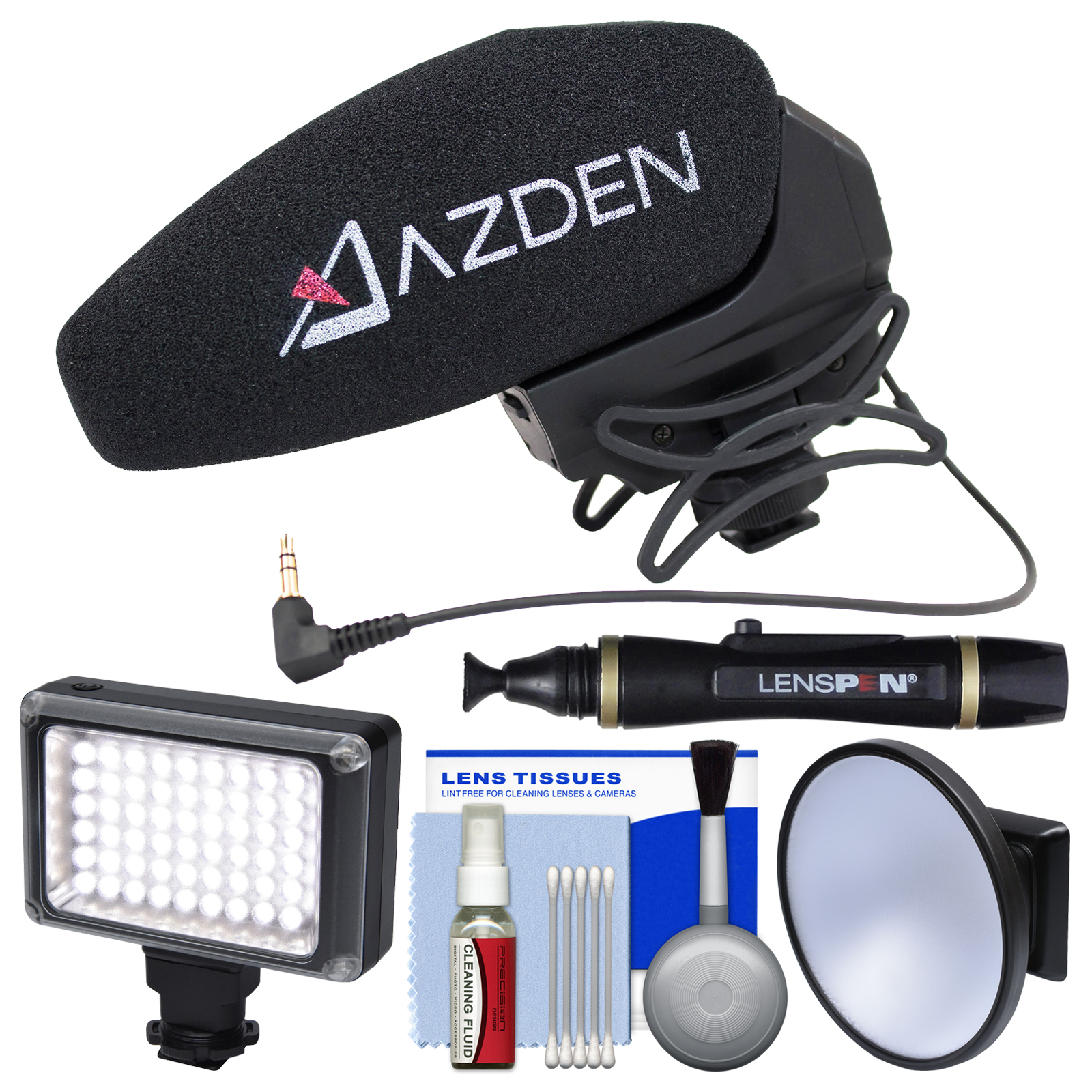 Azden SMX-30 Stereo / Mono Switchable Video Microphone with LED Video Light + Diffuser + Kit