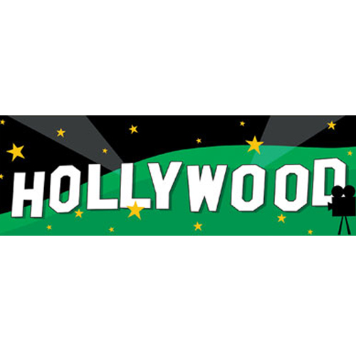Hollywood Movie Night 'Lights Camera Action' Giant Plastic Banner (1ct)
