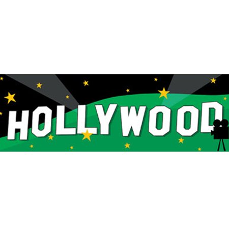 Hollywood Movie Night 'Lights Camera Action' Giant Plastic Banner (1ct) - Hollywood Banner