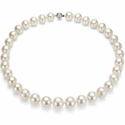 "Ultra-Luster 8-9mm White Genuine Cultured Freshwater Pearl 18"" Necklace and Sterling Silver Ball Clasp by Jacqueline's Collection"