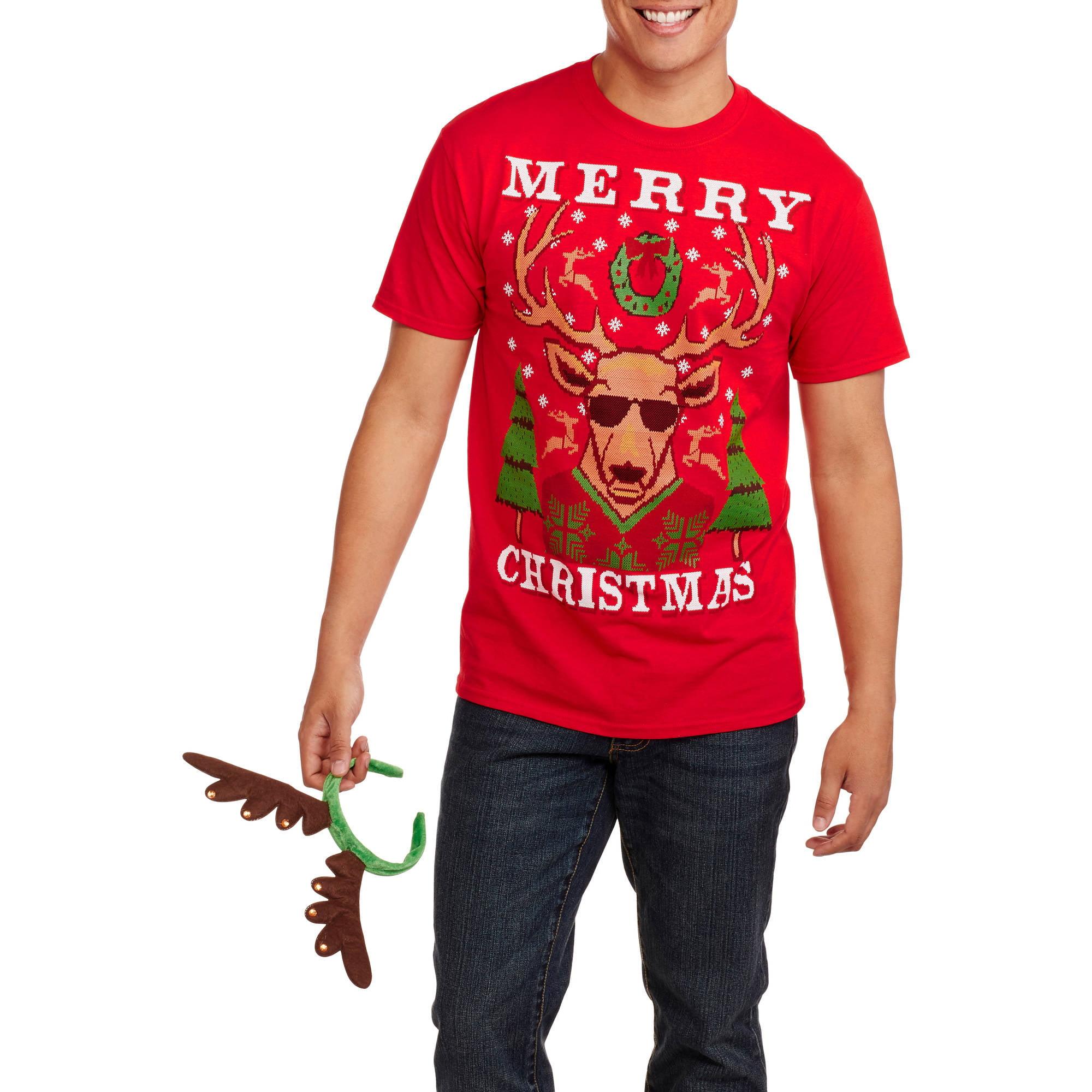 Christmas Big Men's Festive Reindeer Graphic Tee