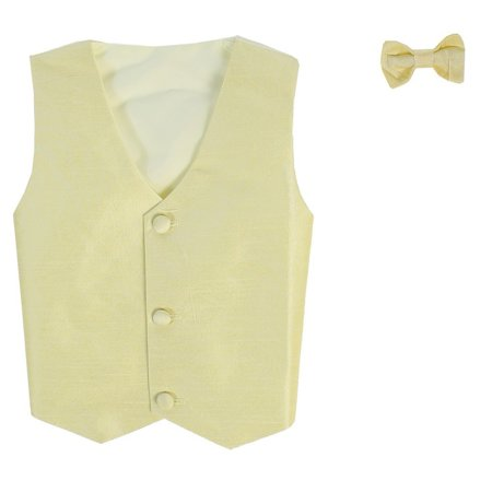 (Boys Yellow Poly Silk Vest Bowtie Special Occasion Set 8/10)
