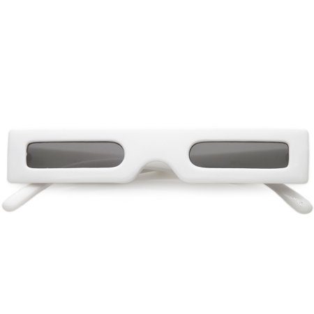 Novelty Futuristic Rectangle Sunglasses Wide Arms Flat Lens 46mm (White / Smoke) ()