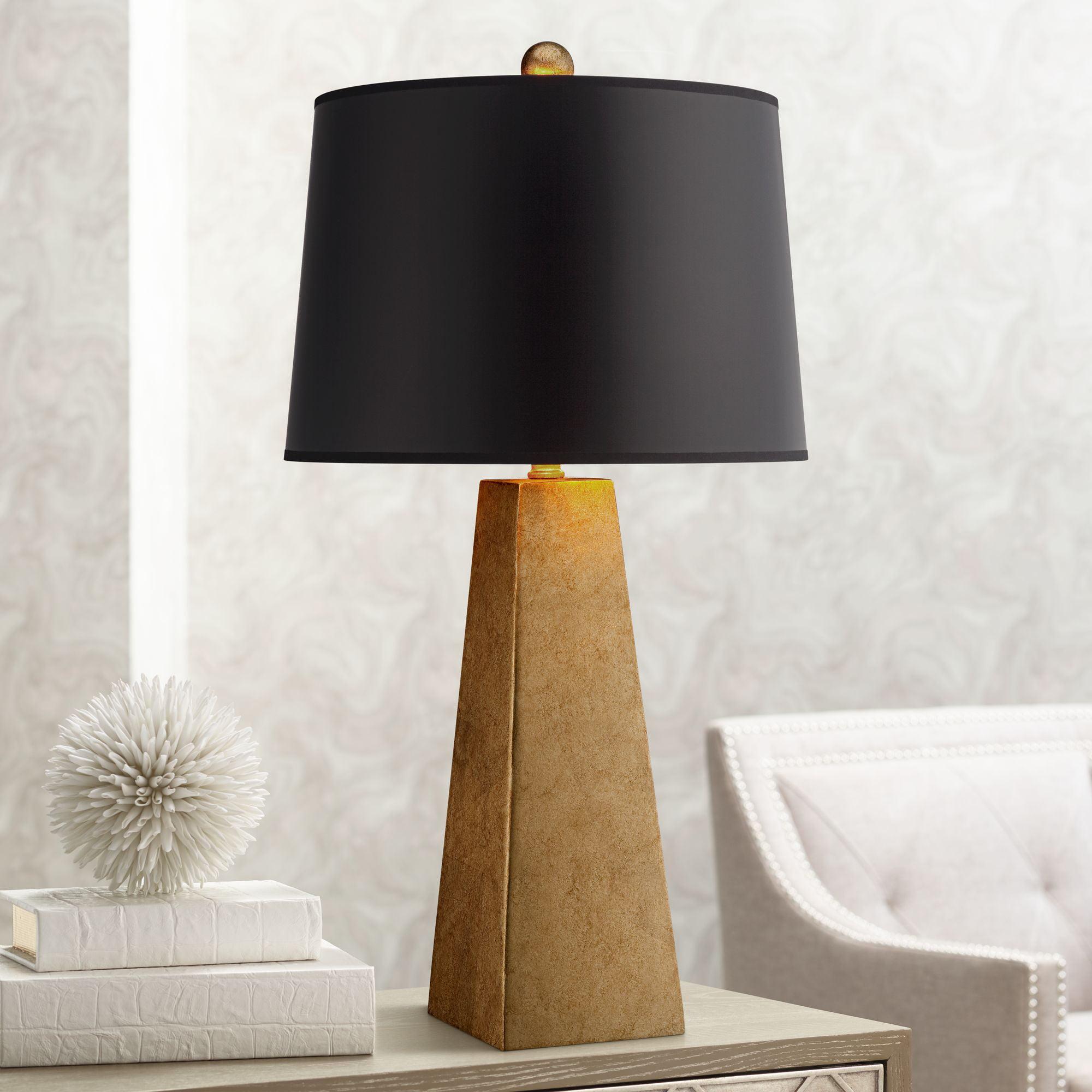 Possini Euro Design Modern Table Lamp Luxe Obelisk Gold Foil Black