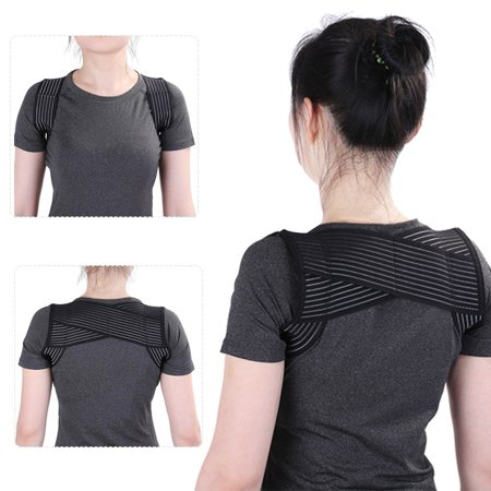 TMISHION Back Posture Corrector, Breathable Elastic X Type Clavicle Shoulder Support Belt Prevent Humpbacked Correction Straighten Vest (Black, L)