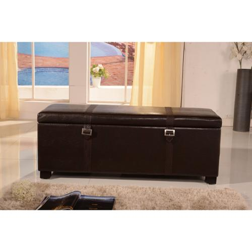 Luxury Collection Classic Faux Buckle Storage Bench Ottoman Brown Faux Leather Ottoman