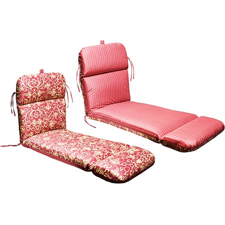 Universal outdoor reversible chaise lounge cushion ming red with stripe - Walmart lounge cushions ...