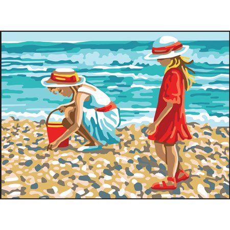 Needlepoint Canvas Tapestry - Collection D'Art Needlepoint Printed Tapestry Canvas 30X40cm-Girls Collecting Shells
