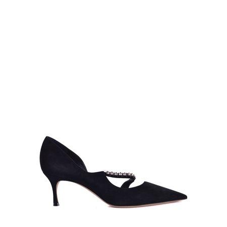 Dior Womens Black Suede Diorly Rhinestone Pumps
