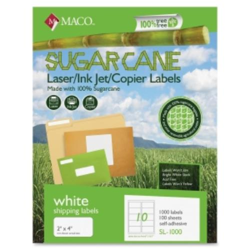 "Maco Printable Sugarcane Mailing Labels - 2"" Width X 4"" Length - 1000 / Box - Rectangle - 10/sheet - Inkjet, Laser - Bright White (MSL1000)"
