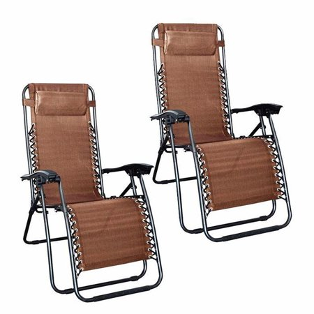 Excellent 2Pcs Zero Gravity Lounge Chair With Pillow Folding Patio Lawn Recliner Plum Blossom Lock Portable Adjustable Folding Chairs With Saucer Brown Ncnpc Chair Design For Home Ncnpcorg