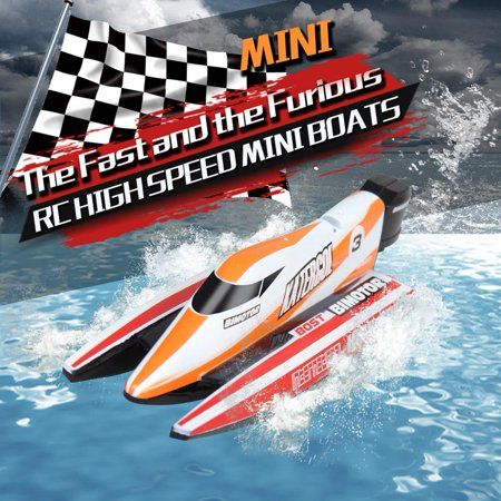 RC Racing Boat, RC Speed Boat,RC 2.4GHz Remote Control 4 Channel Mini Boat Racing Speedboat Model Ship Vehicle Toy (Remote Control Boat Model Kit)