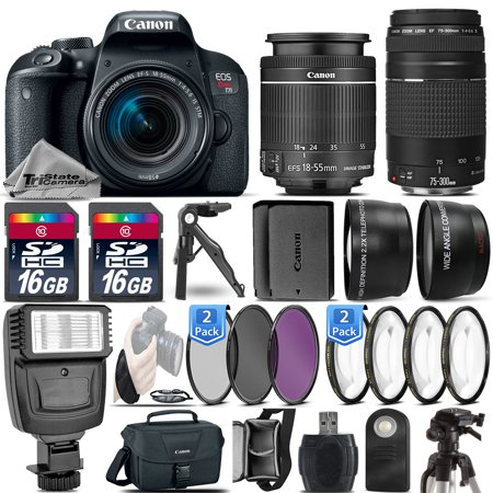 Canon EOS Rebel T7i DSLR Camera + 18-55mm STM + 75-300 III + EXT BATT - 32GB Kit