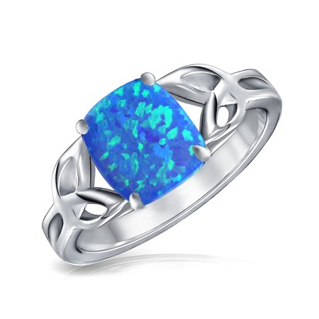 Triquetra Square Shaped Cushion Celtic Knot Created Blue Opal Friendship Ring 925 Sterling Silver October Birthstone