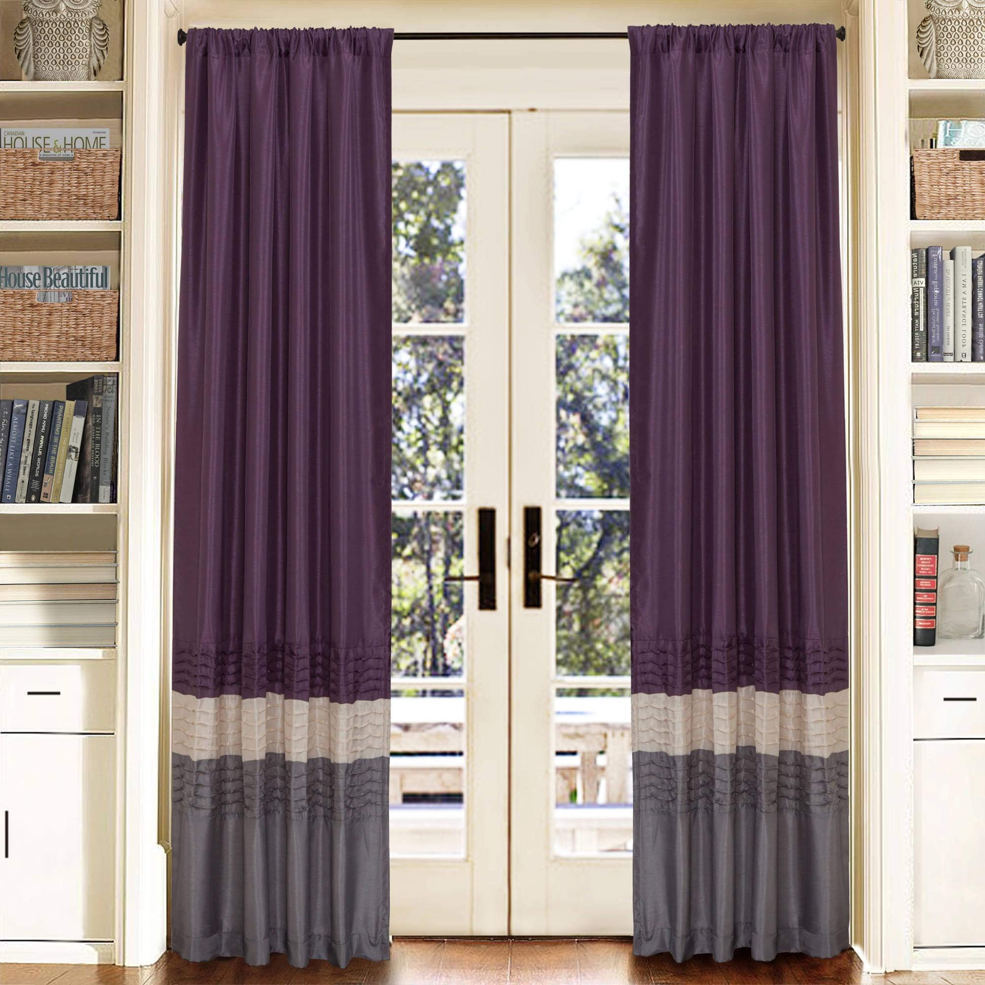 """Mia Gray/Purple Window Curtains, Pair, 54"""" x 84"""""""
