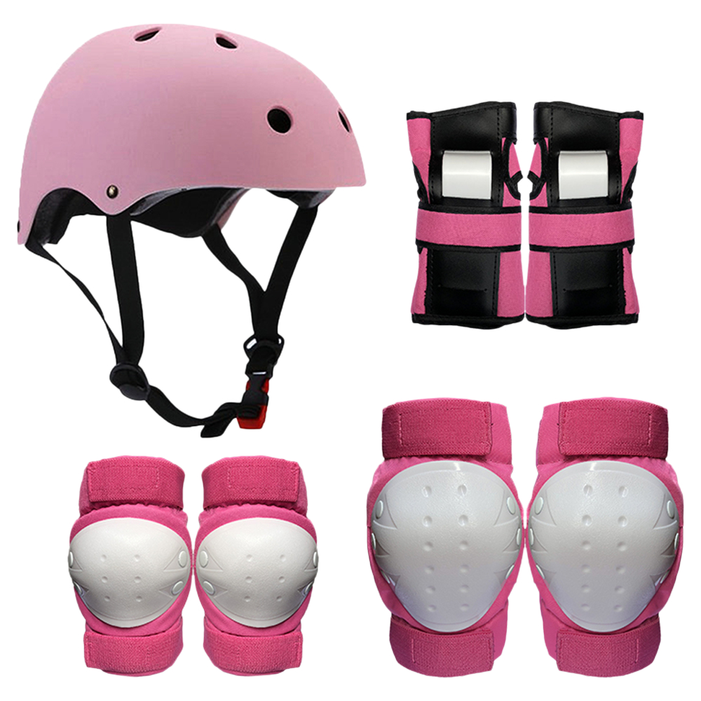 High Bounce Knee Pads and Elbow Pads with Wrist Guards Protective Gear Set for Biking Pink, Kids//Child Rollerblades Riding Skateboard Bicycle Cycling and Multi Sports Safety Protection: Scooter