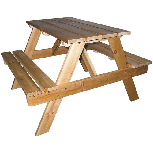 "20.5"" Tall Indoor   Outdoor Wooden Kids Picnic Table, Natural finish by Ore International"