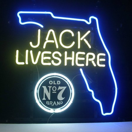 Desung Brand New Jack Daniels Lives Here Florida Old Number 7 No. 7 #7 Whiskey Neon Sign Lamp Glass Beer Bar Pub Man Cave Sports Store Shop Wall Decor Neon (Florida Mall Sports Stores)