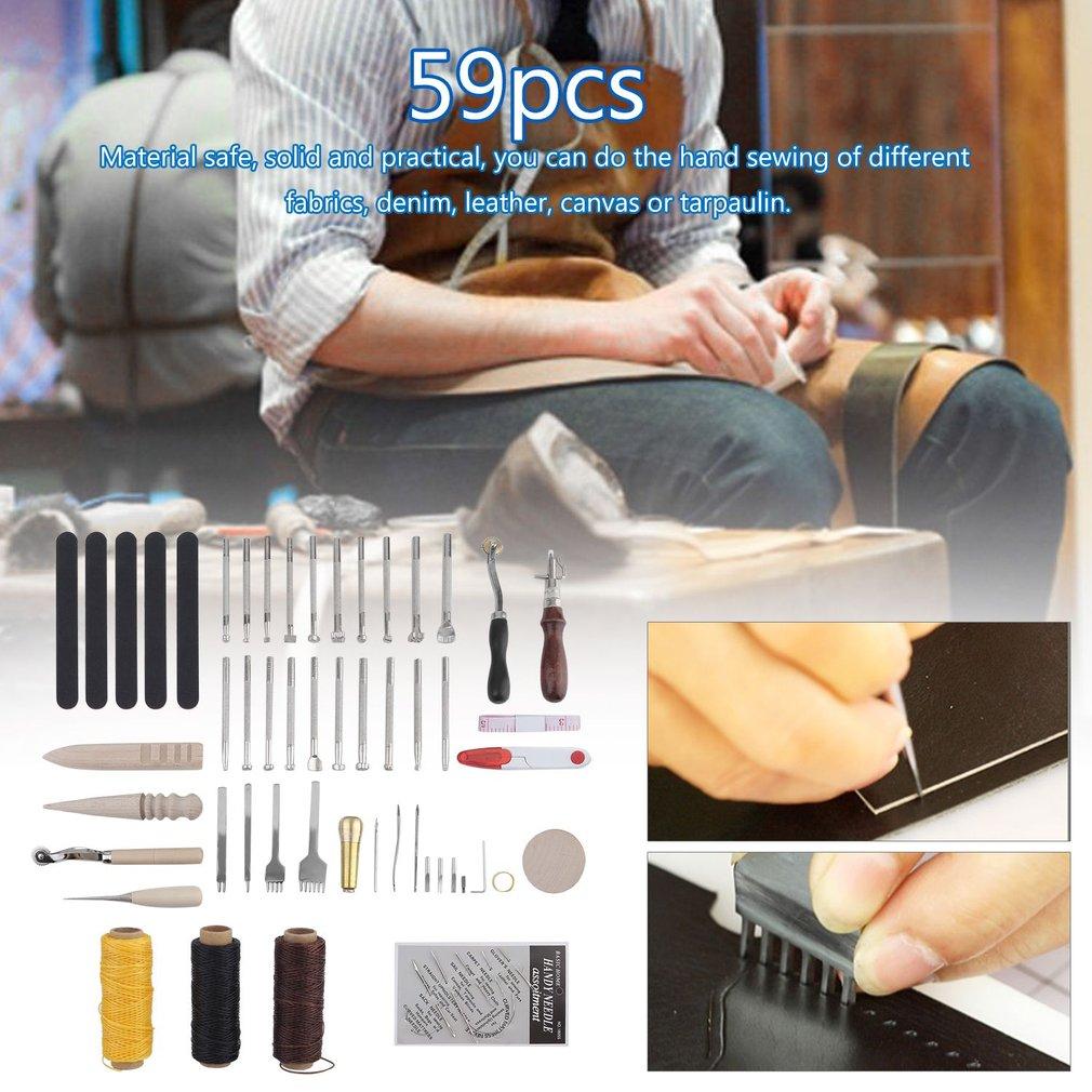 59pcs Leather Craft Tools Kit Saddle Making Set Manual Ca...