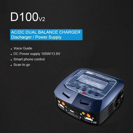 Original SKYRC D100 V2 100W AC/DC Dual Balance Charger Discharger Power Supply for LiPo LiHV LiFe LiIon NiCd NiMH PB Battery RC Car