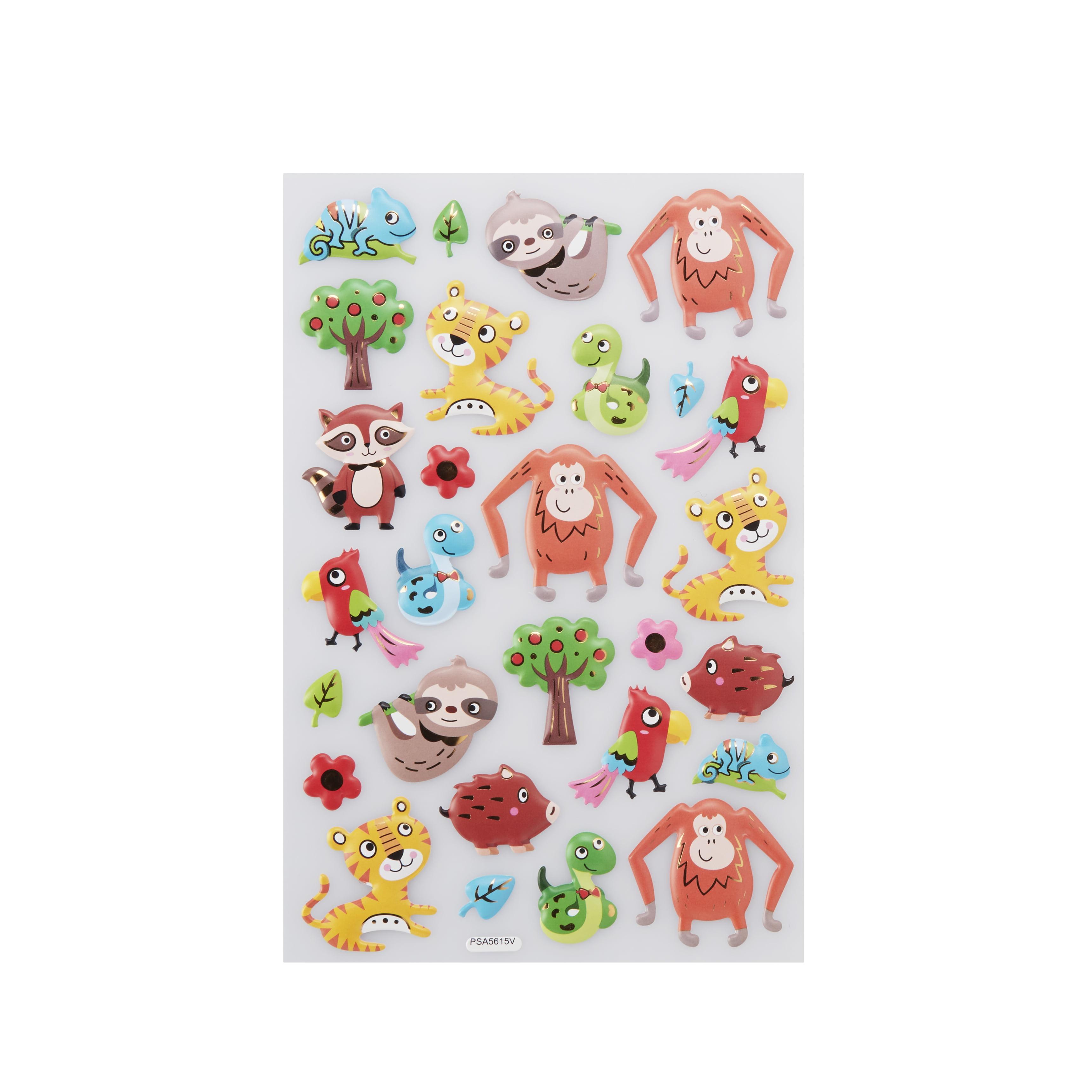 WayToCelebrate Easter 3-D Pop-Up Foil Stickers, Animals, 28 Count
