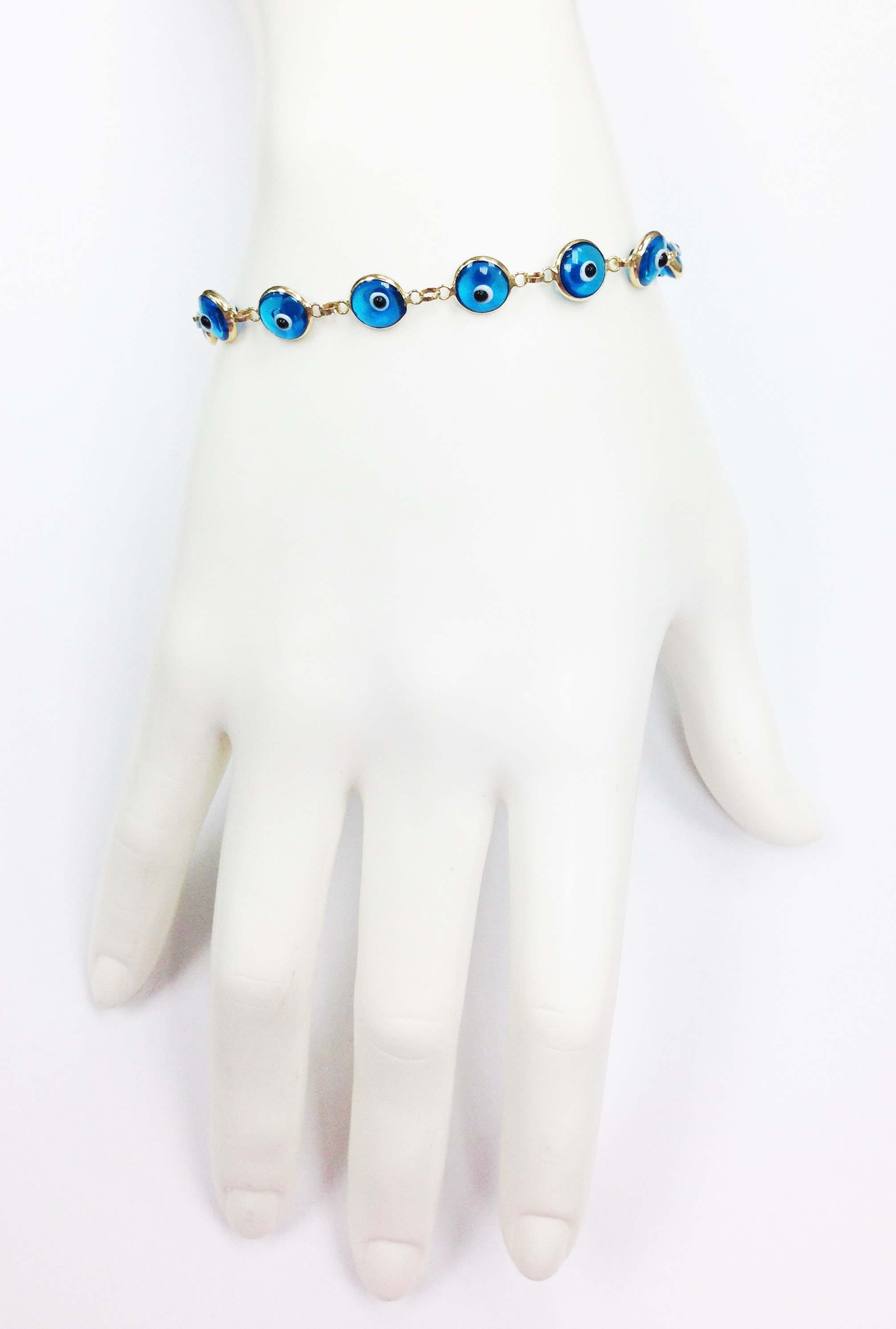 14K YELLOW GOLD TURQUOISE EVIL EYE BRACELET (7.5 INCHES) by