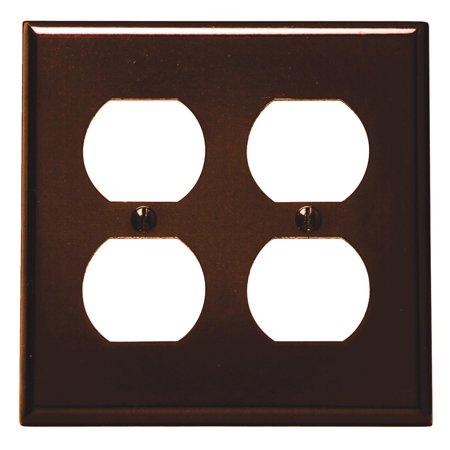 Leviton 001-85016-BRN Double Gang Brown Two Duplex Receptacle Wallplate