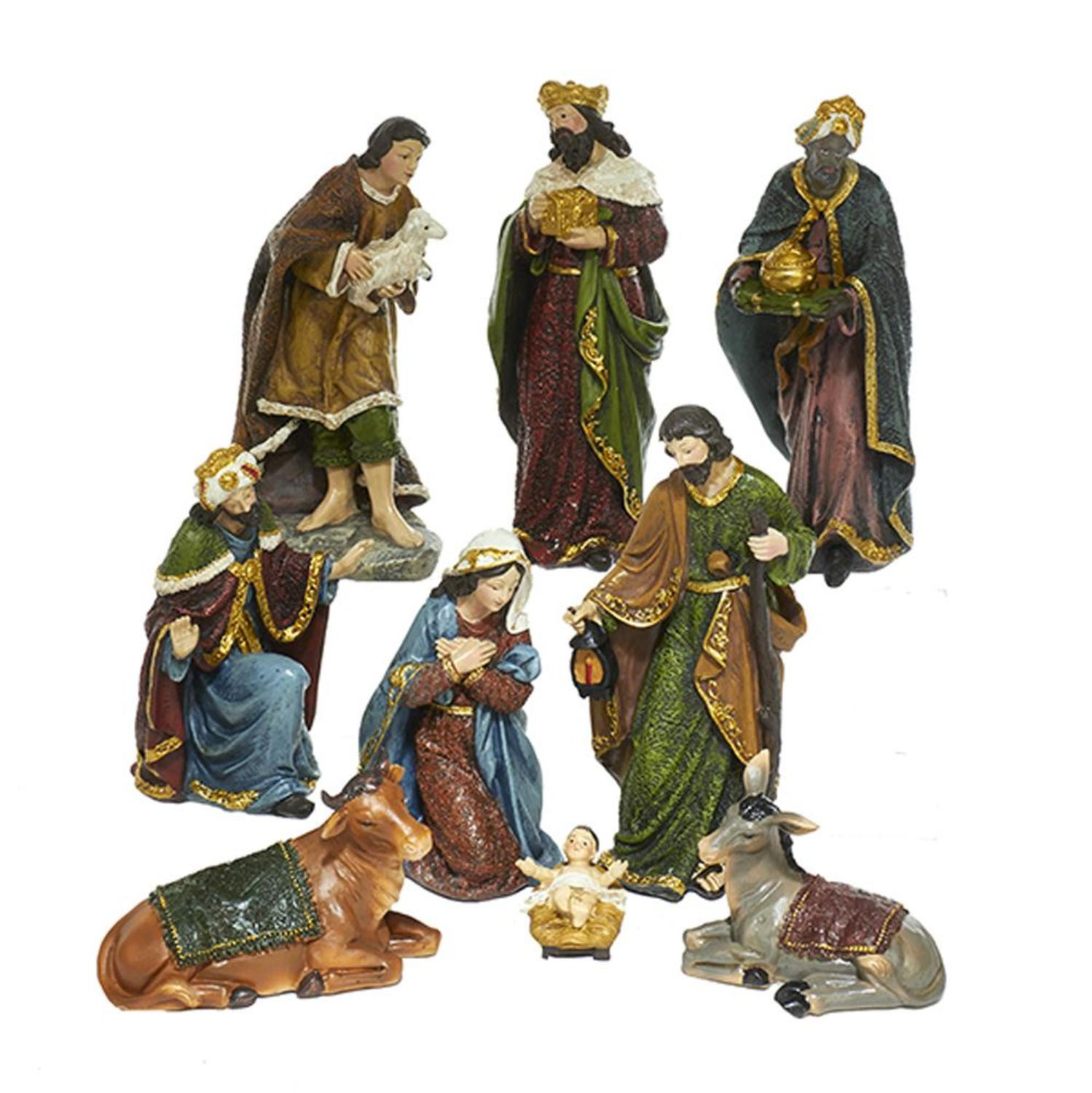 9 Pieces Subtle Colored Vintage Inspired Decorative Nativity Figurine Set 8""