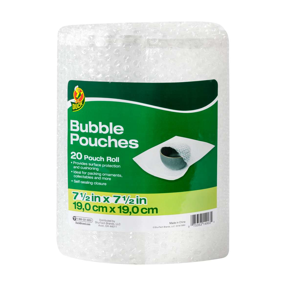 Duck Bubble Pouches on a Roll, 7.5 in. x 7.5 in., Clear, 20-Count