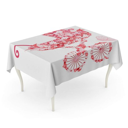 SIDONKU Baby Stroller of Flowers for Girls Carriage Party Vintage Little Butterfly Cute Tablecloth Table Desk Cover Home Party Decor 60x84 inch (Butterfly Carriage)