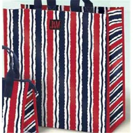 Joann Marrie Designs P2sbms Polypropylene Marina Stripe Shopping Bag   Red  White   Blue