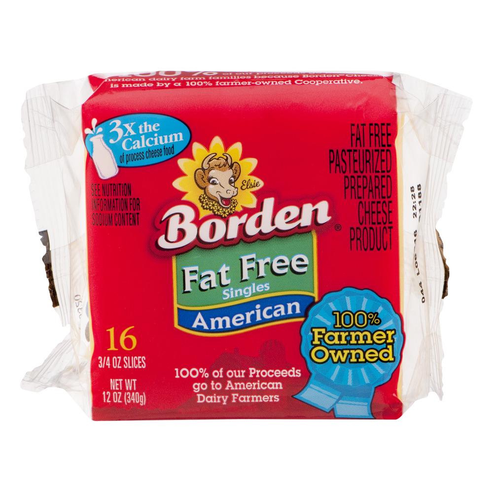 Borden Fat Free Singles American - 16 CT