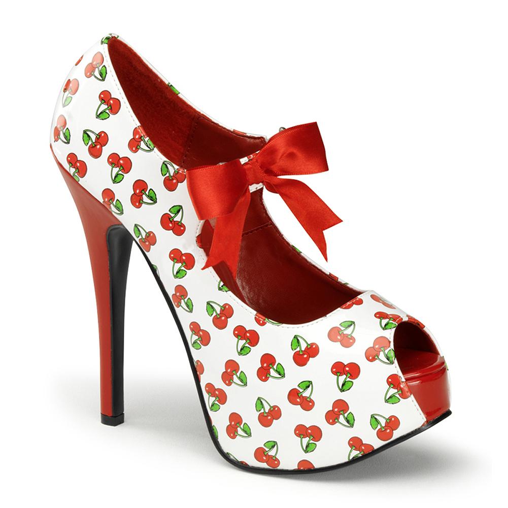 Womens May Jane Shoes Peep Toe Pumps 5 3/4 Inch Heels Black White Red Cherries